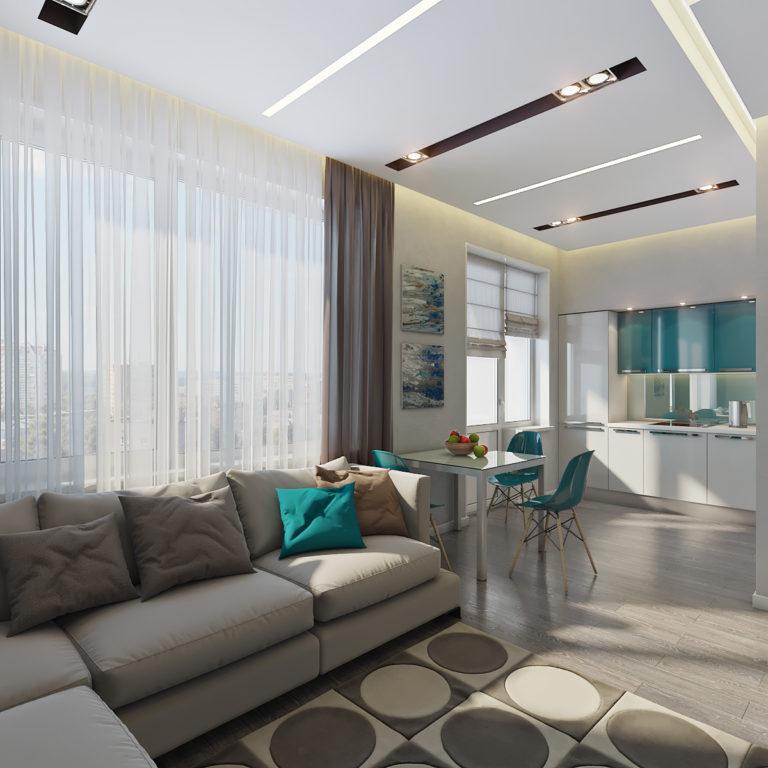 Дизайн проект интерьера квартиры ЖК Савеловский Сити (Армстронг)